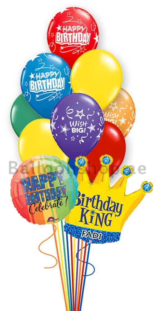14 Balloons Personalized King Birthday Balloon Bouquet