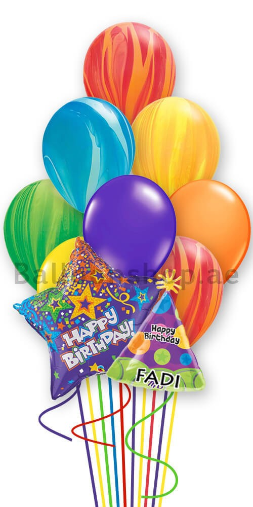 12 Balloons Personalized Marble Birthday Balloon Bouquet