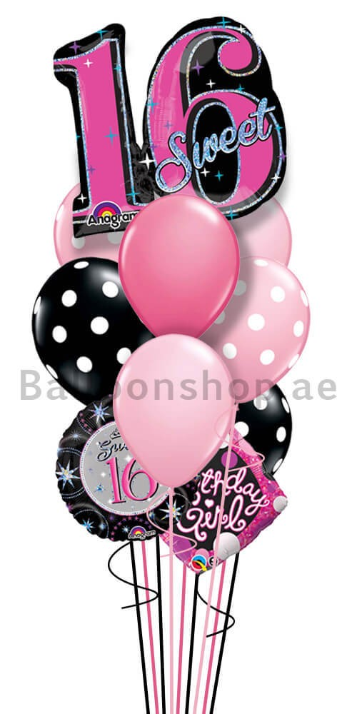 Jumbo Sweet 16 Birthday Balloon Bouquet
