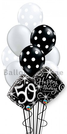 50th Birthday Helium Balloon Bouquet