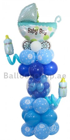 Baby Boy Stuffed Deco Newborn Balloon Arrangement