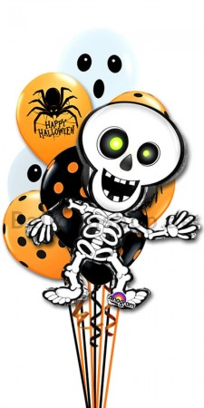 Halloween Ghost Spider And Skeleton Balloon Bouquet