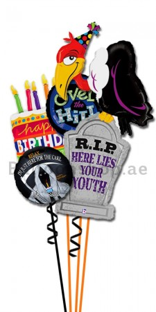 Personalized Buzzard Birthday Cake Balloon Bouquet