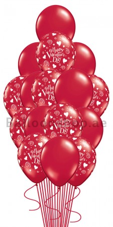 16 Balloons Valentine's Day Elegance Balloon Arrangement
