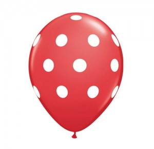 "11"" Red Polka Helium Balloon"