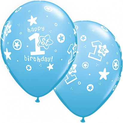 "11"" First Birthday Blue Helium Balloon"