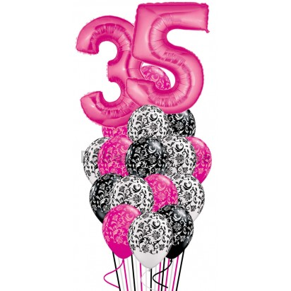 Any Age Damask Birthday Balloon Bouquet