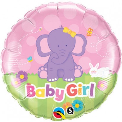 "18"" Baby Girl Elephant Helium Foil Balloon"