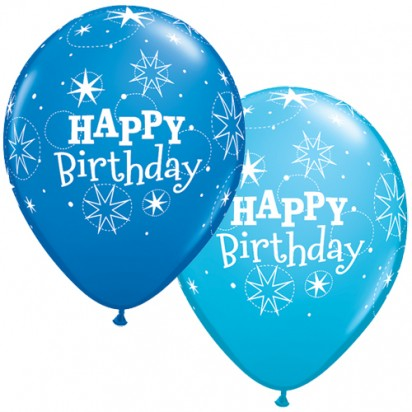 "11"" Birthday Blue Helium Balloons (Set of 2)"
