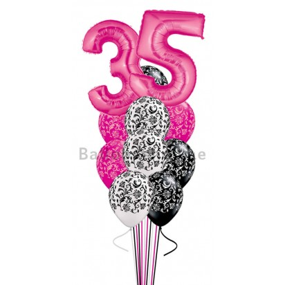 9 Balloons Any Age Damask Birthday Balloon Bouquet