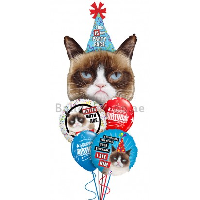 Grumpy Cat, Its Your Birthday Balloon Bouquet