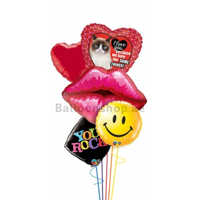 Grumpy Cat Birthday Love (Red Lips) Balloon Bouquet