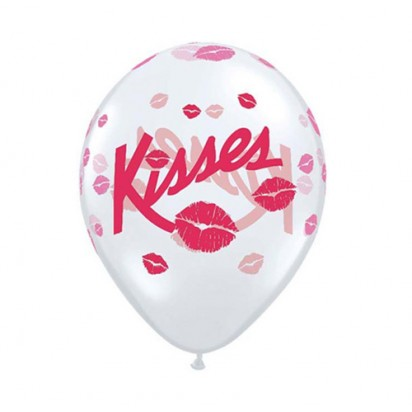 "11"" Love Kisses Transparent Latex Helium Balloons"