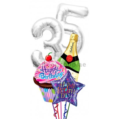 Any Age Cup Cake Birthday Balloon Bouquet