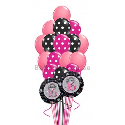 (18 Balloons) - Sweet 16 Polka Balloon Bouquet