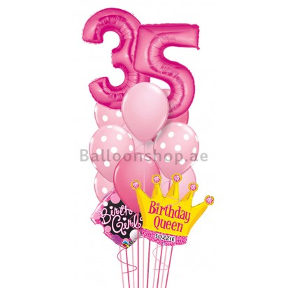 Any Age Any Name Birthday Queen Balloon Bouquet