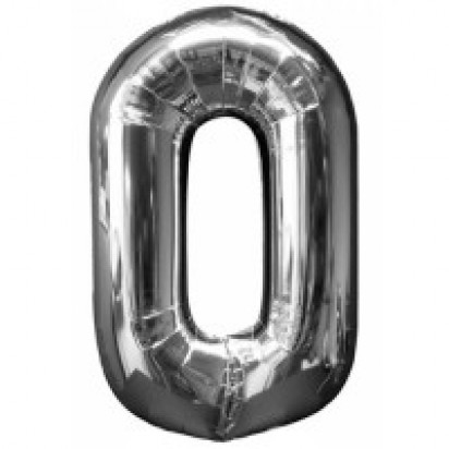 Silver  Number  0  Balloon  35""