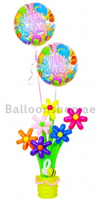 Birthday Bubbles & Flowers Balloon Arrangement