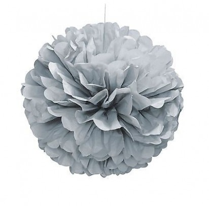 Silver Pom Pom Decoration, 16-Inch