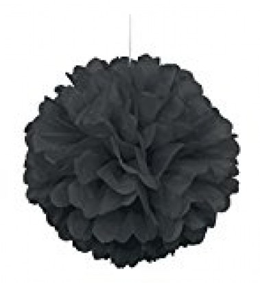 Black Pom Pom Decoration, 16-Inch