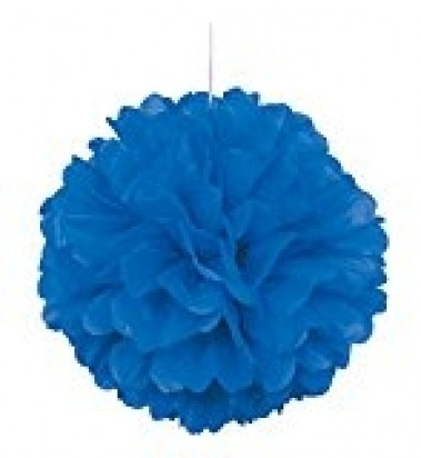 Royal Blue Pom Pom Decoration, 16-Inch