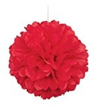 Red Pom Pom Decoration, 16-Inch