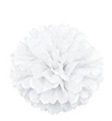White Pom Pom Decoration, 16-Inch