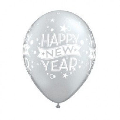 "11"" New Year Confetti Silver Helium Latex Balloon"