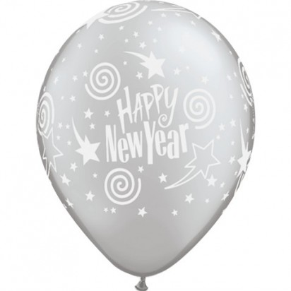 "11"" New Year Swirling Stars Helium Latex Balloon"