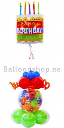 Floating Cake Birthday Balloon Arrangement