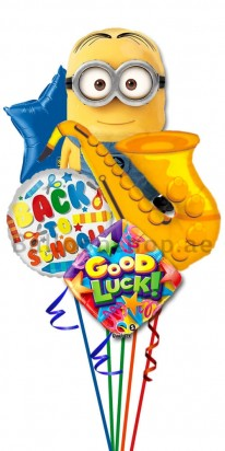Back To School Minion Musical Helium Foil Balloon Bouquet