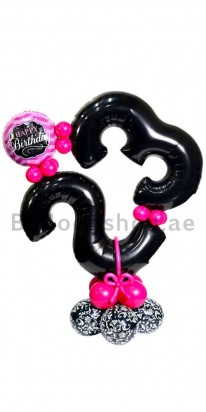 Any Age Onyx Black & Pink Decoration Birthday Balloon Arrangment