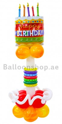 Birthday Cake Balloon Column