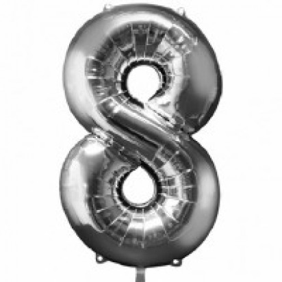 """35"""" Silver Number 8 Helium Foil Balloon"""