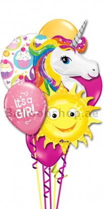 New Born Baby Girl Colorful Helium Balloon Bouquet