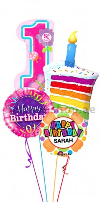 (Jumbo Bouquet) Personalized First Birthday Color Blast