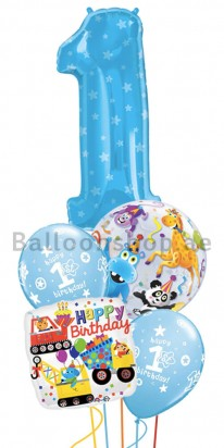 1st Birthday Boy Jumbo Balloon Bouquet