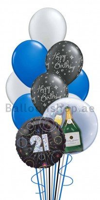 Mega Jumbo Double Bubble 21st Birthday Balloon Arrangement