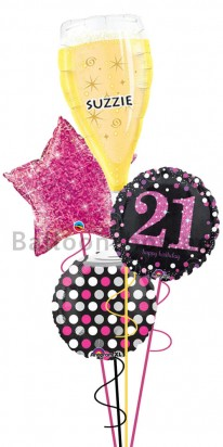 Mega Jumbo Personalized Ultimate 21st Balloon Bouquet
