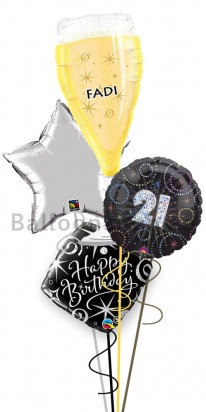 Personalized Ultimate 21st Birthday Balloon Arrangement