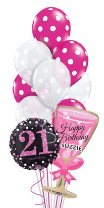 Personalized 21st Birthday Cheers Balloon Arrangement