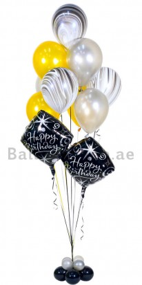 Elegant Agate Birthday Balloon Arrangement