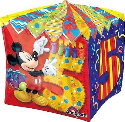 "15"" Mickey Mouse Age 5 Cubez Helium Foil Balloons"