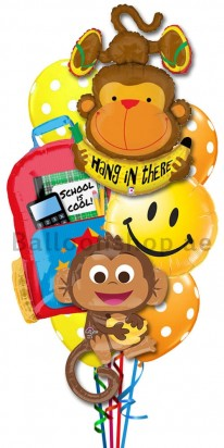 Back To School Monkey Helium Foil Balloon Bouquet