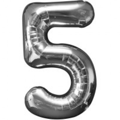 Silver Number 5 Balloon 35""