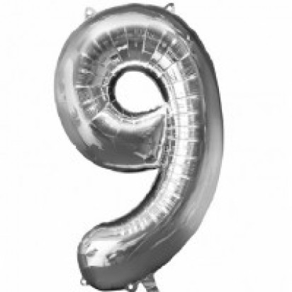 Silver Number 9 Balloon 35""
