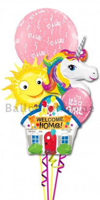 New Born Baby Girl Welcome Home Balloon Bouquet