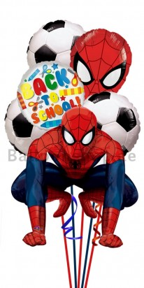 Back To School Spiderman Football Helium Foil Balloon Bouquet