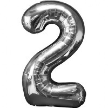 Silver Number 2 Balloon 35""