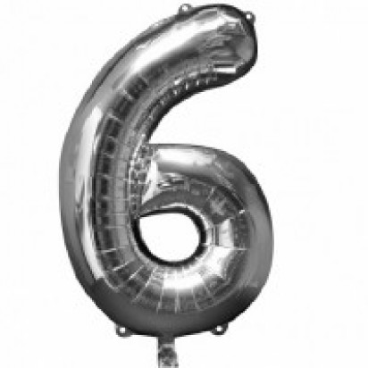 Silver Number 6 Balloon 35""